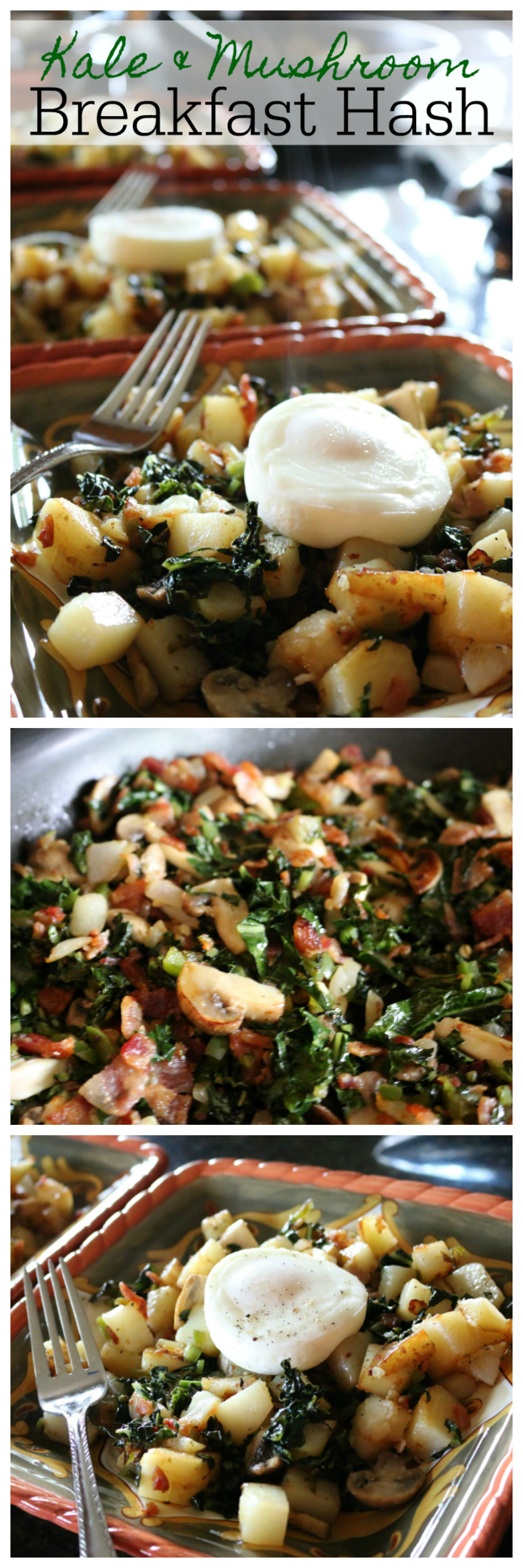 Kale & Mushroom Breakfast Hash Recipe - Great for breakfast or dinner. CeceliasGoodStuff.com Good Food for Good People