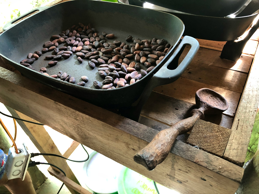 Roasting the cocoa beans. It smelled so good! La Iguana Chocolate, Costa Rica