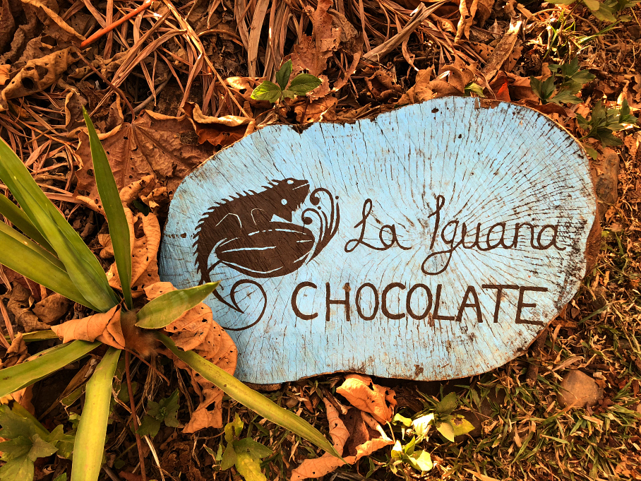 A wooden sign for La Iguana Chocolate, Costa Rica