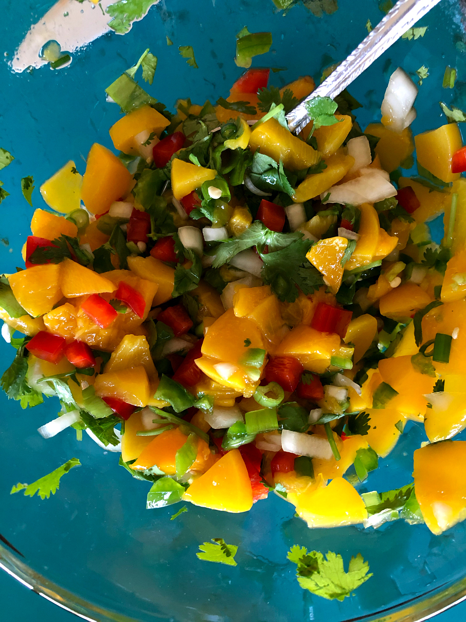 Colorful Peach Salsa perfect for tacos or great with tortilla chips. Cinco de Mayo Recipe Ideas CeceliasGoodStuff