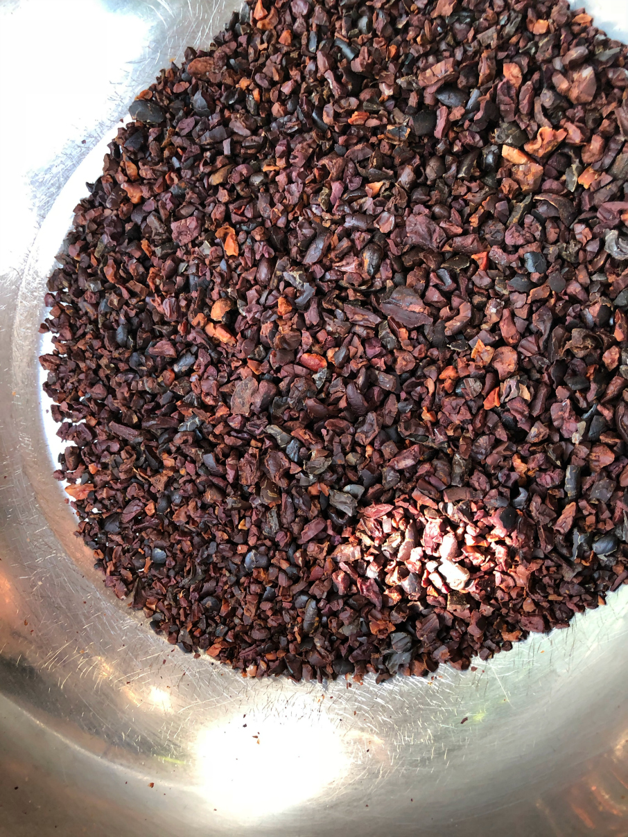 Fresh crushed cocoa beans used to make cocoa nibs La Iguana Chocolate Costa Rica
