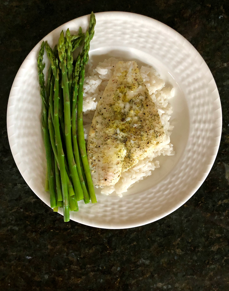 Easy Baked Flounder Fillets with sticky rice and steamed asparagus. CeceliasGoodStuff.com