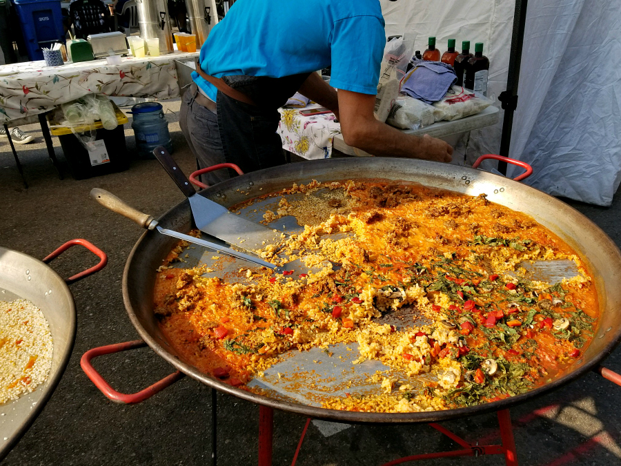 Fresh made paella at the Downtown Farmers Market in Boulder, Colorado. This was nearly three feet across. WOW!