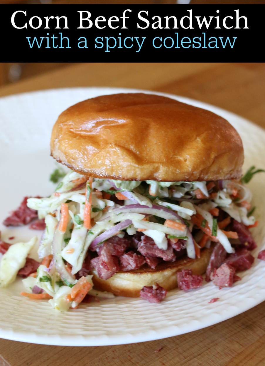 Corn Beef Sandwich with a Spicy Coleslaw CeceliasGoodStuff.com Good Food for Good People