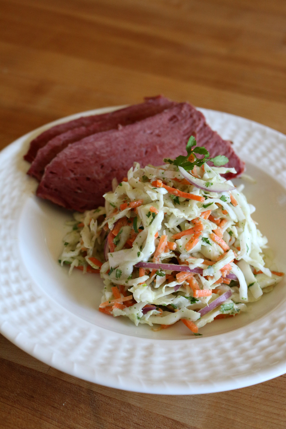 Keto Friendly Recipe - Slow Roasted Corn Beef and Spicy Coleslaw with Hatch Green Chile Ranch Dressing CeceliasGoodStuff.com