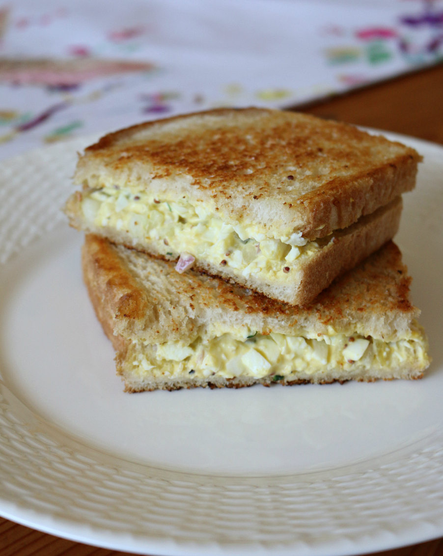 A Hearty Egg Salad Sandwich Grilled on Sourdough Bread