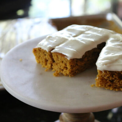 Sheet Pan Pumpkin Bars with Cream Cheese Frosting