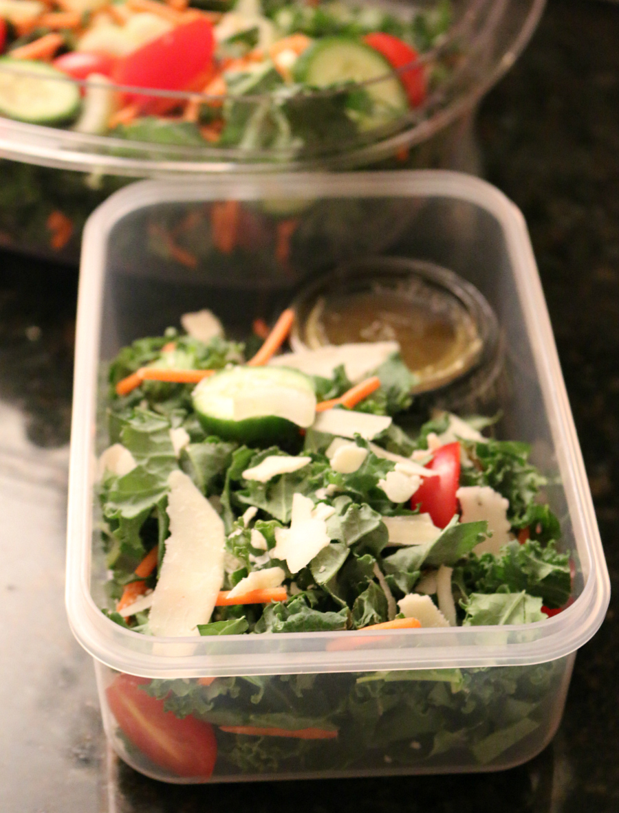 A Kale Salad with Garlic Lemon Dressing for lunch on the go