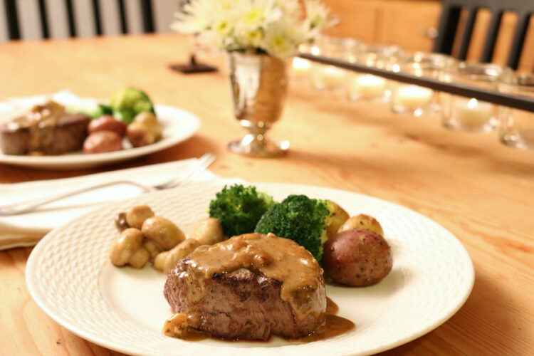 Filet Mignon with a Blue Cheese Sauce