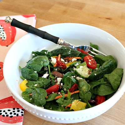 Mediterranean Spinach Salad with Greek Dressing