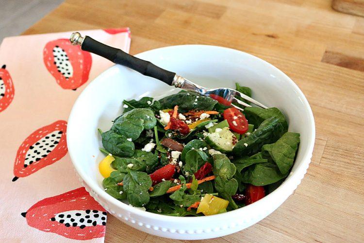Mediterranean Spinach Salad with Greek Dressing