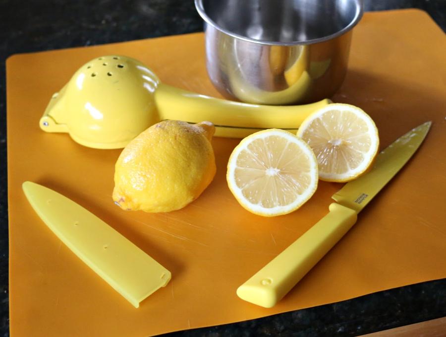 Fresh Squeezed Lemon for the Tabbouleh Salad